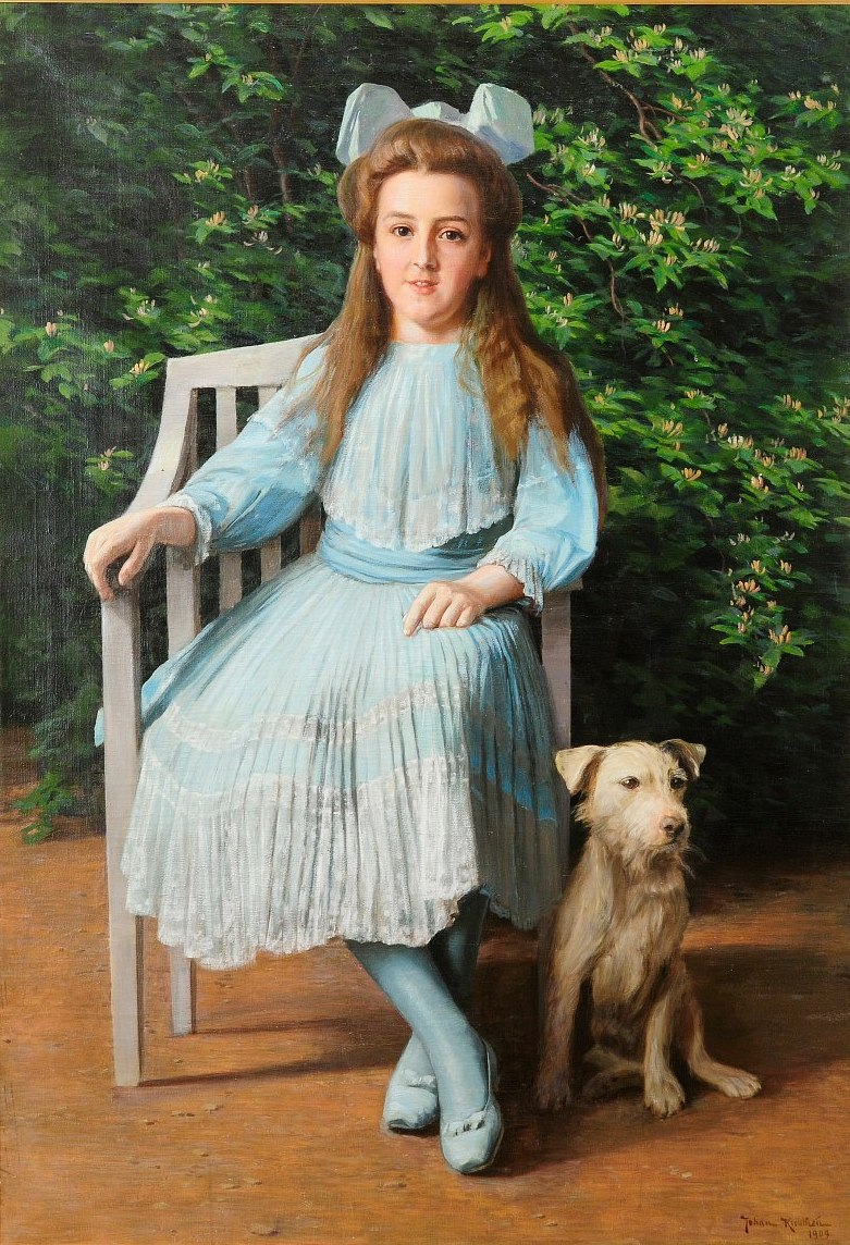 Flicka med terrier 1909