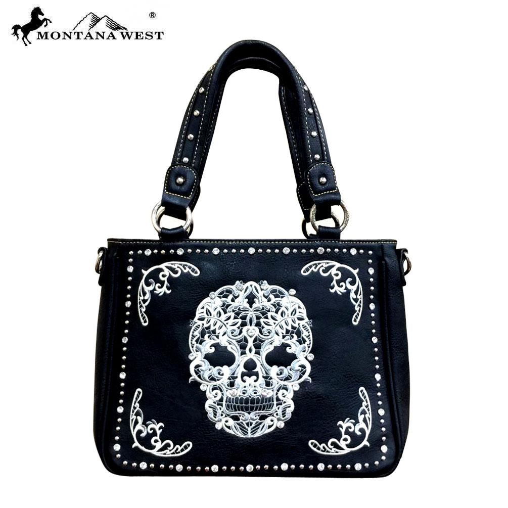 Sugar skull Tote handbag black white