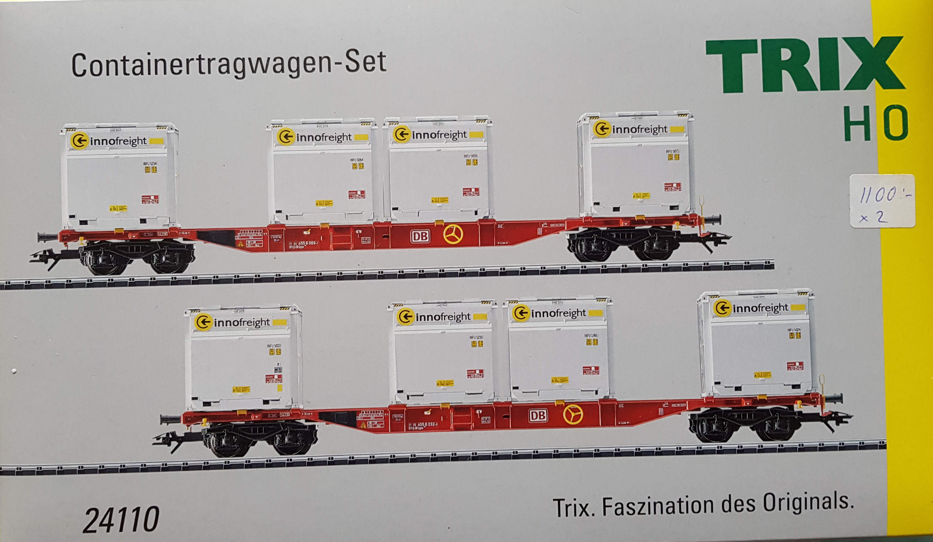 Trix 24110 Containervagns set om 2st skala H0, LF