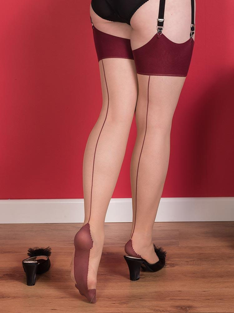 What Katie Did Glamour Contrast Seamed Stockings 8färger S/M, M/L