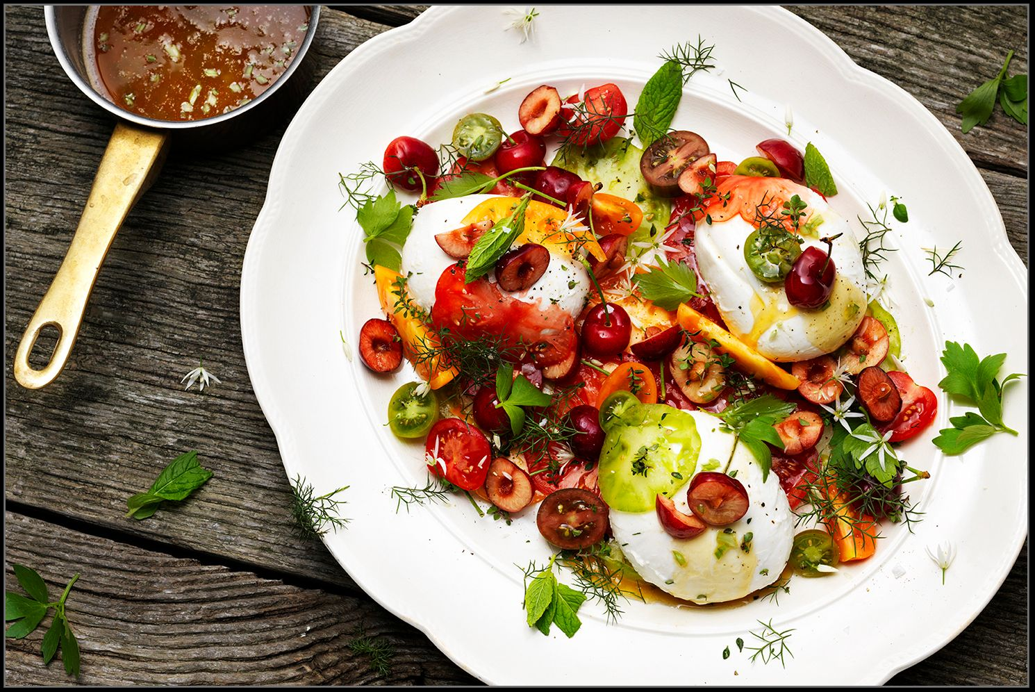 Summer Salad with Tomatoes, Cherries, Mozzarella, Herbs & Browned Butter. Recipe: Benny Cederberg