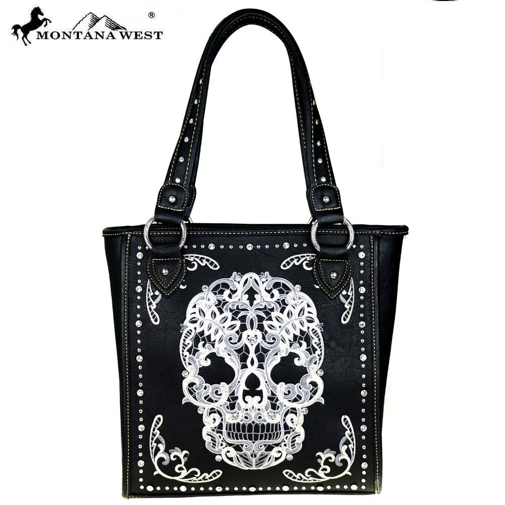 Tote handbag sugar skull black and white