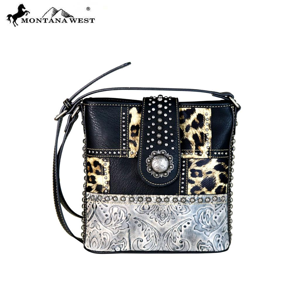 Crossbody handbag med leopardmönster - svart