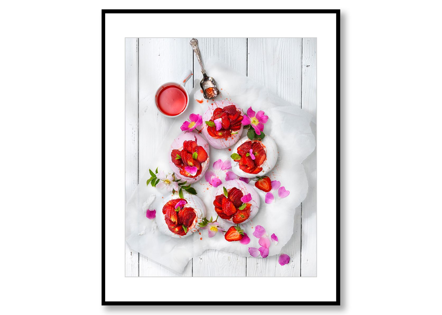 Meringues with strawberries. Food Art. Prints for sale. Photo by Fredrik Rege