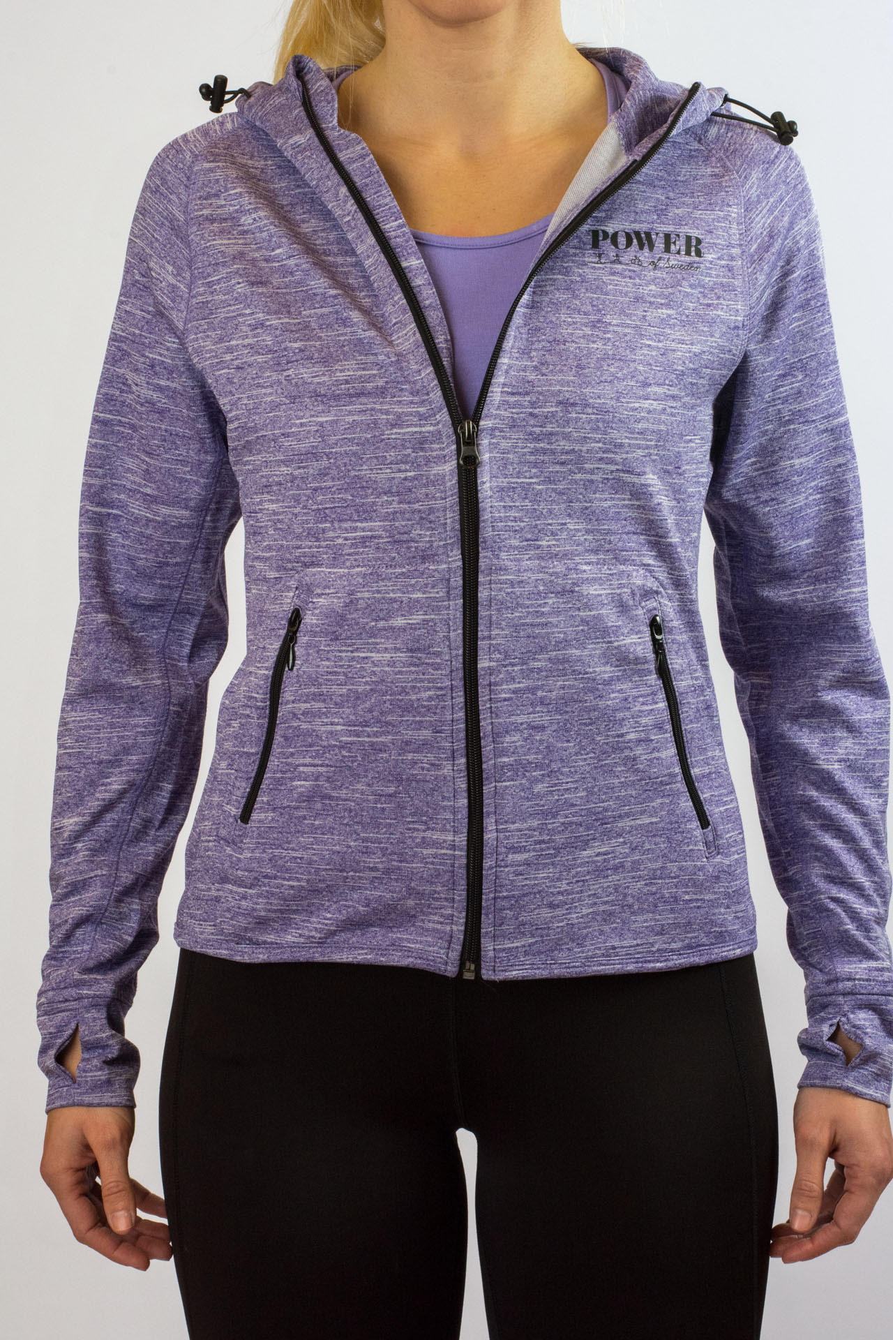 POWER of Sweden Running Hoodie, Purple Melange