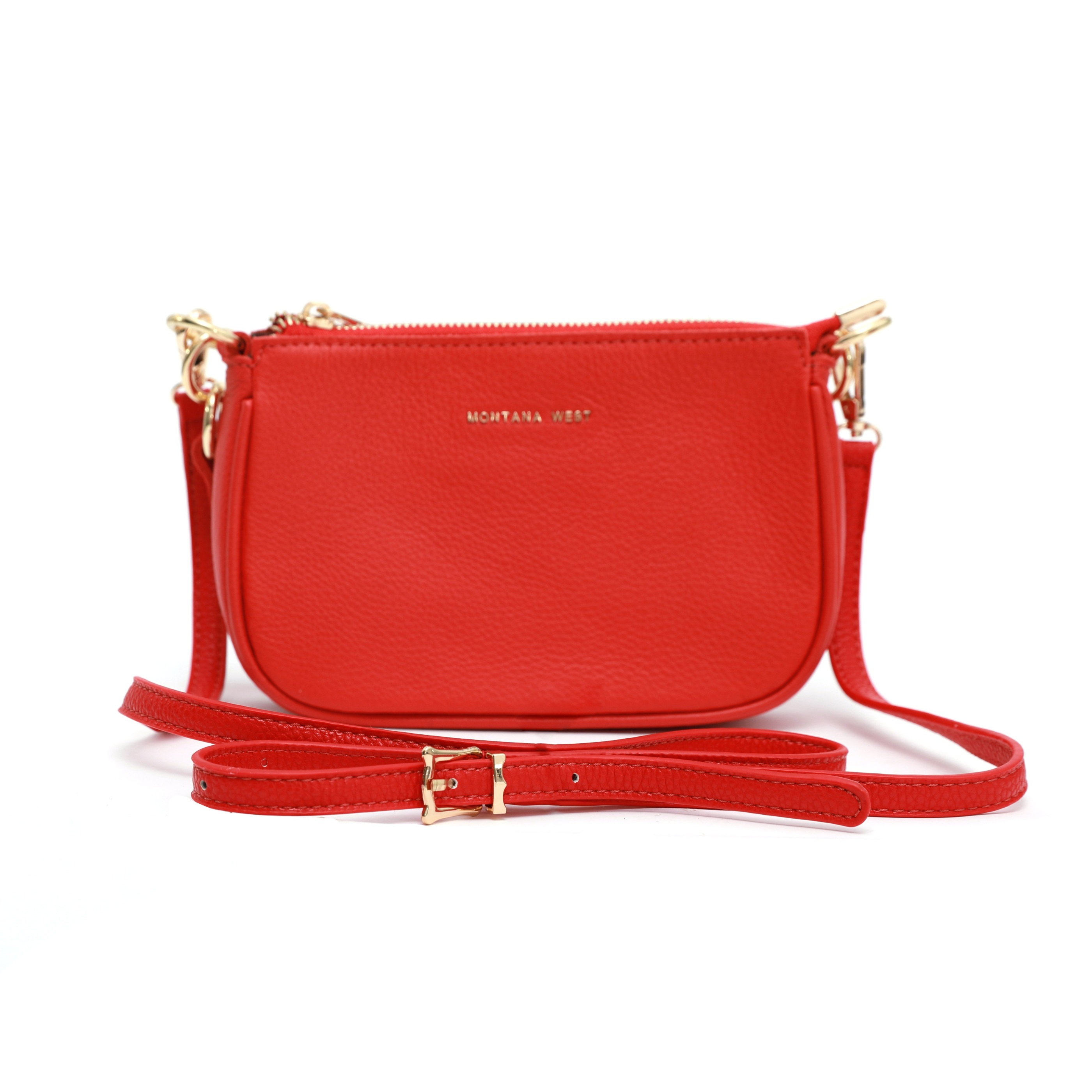 Crossbody leather red