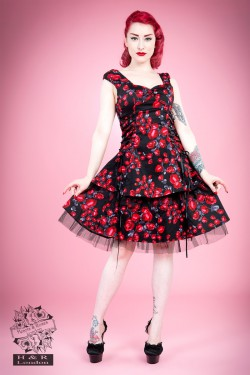 Heart&Roses Sorrento red rose dress stl S,L, 3XL