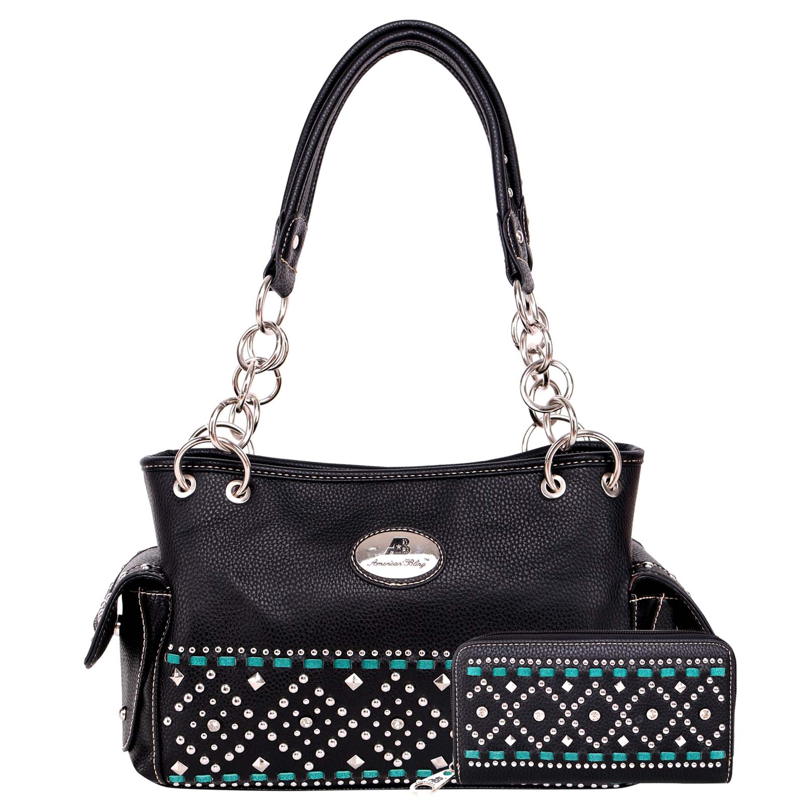 Satchel handbag American bling