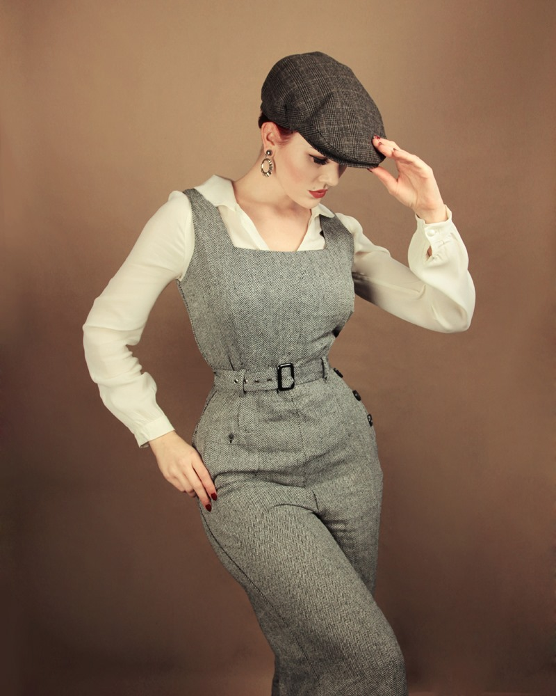 Collectifs Gertrude 40`s herringbone jumpsuit stl XXS-4XL