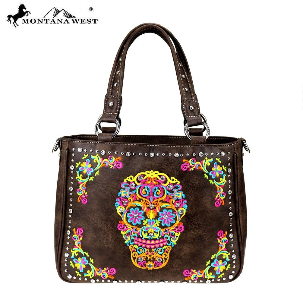 Sugar skull Tote handbag brown-multi